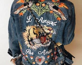 Women Vintage Tiger Embroidered Denim Jacket Tiger Patches Women New