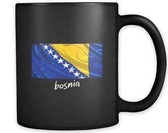 Bosnia Proud Vintage Flag Black Mug 11oz