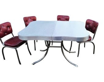 1950u0027s Dining Set Formica Cracked Ice And 4 Vinyl Chairs