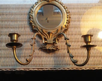Vintage Brass Mirrored Wall Sconce