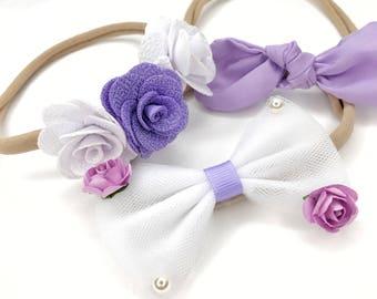 Set of 3 Baby Headbands, lilac headband, Girl Headband, Flower headband, Bow Headband, Photo Props Headband, Hair Accessories,