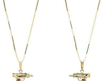 2x Supreme Mini Uzi 18K Gold Plated Necklace