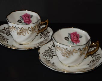 SANDRINGHAM, Duo of, Tea Cup and Saucer, Made in England, Tea Party, Shabby Elegance, 2 sets, Valentines Day gift, Vintage, roses, rose
