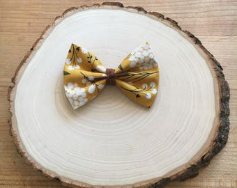 Mustard Yellow Floral Bow