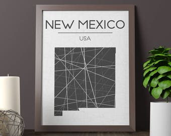 New Mexico Map Print, New Mexico Wall Art, New Mexico Room Decor, State Sign, New Mexico State Print, New Mexico Print, New Mexico Printable