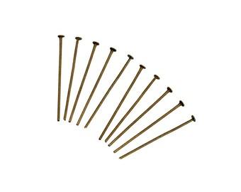 lot de 100 clous tiges à tête plate 18 mm métal bronze