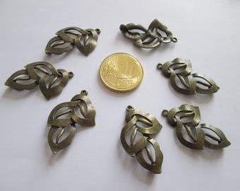 lot de 7 Connecteurs feuille en métal couleur bronze 29mm x 18mm