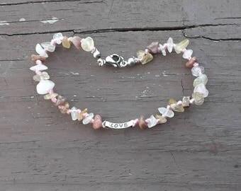 Rose Quartz bracelet - Rhodonite Bracelet - Rutilated Quartz bracelet