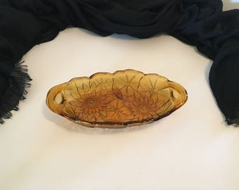 Vintage Amber Lily Pons and Sunflower Indiana Glass Dish