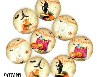 Set of 8 cabochons 20mm glass, Halloween, ZC81