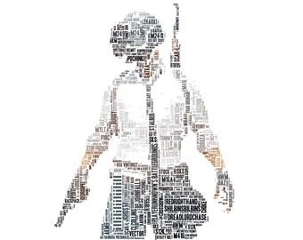 DIGITAL PlayerUnknown's Battlegrounds, Typography Word Art, PUBG, Digital Download