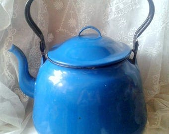 Soviet vintage kettle Authentic teapot Large enameled Retro cottage Coffee pot Old enameled kettle Large blue kettle Gift to the collector