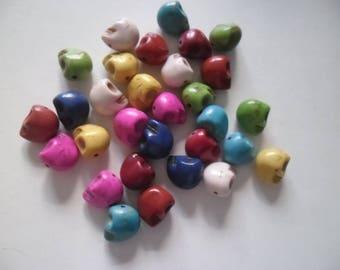 10 mixed color 12 mm howlite skulls