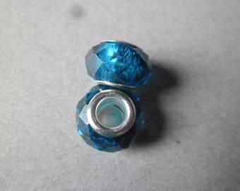 x 2 blue core lampwork glass beads silver 14 x 10 mm