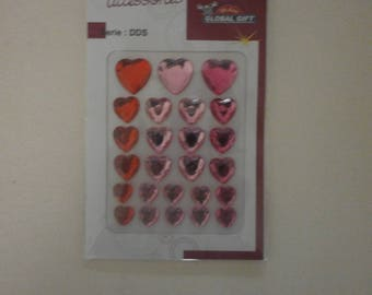 set of 25 hearts rhinestone pink and Red sticker