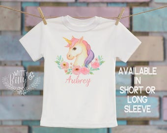 Flowers and Unicorn Personalized Kids Shirt, Customized Kids Shirt, Pink Unicorn Kids Shirt, Boho Kids Tee, Girl Name Tee - T334A