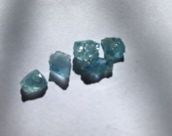 5 Rough Raw Blue Aquamarines -  5 Blue Aquamarines Lot G24