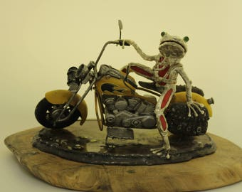 Glass Frog Red Motorcyclist on a Harley Davidson yellow motorcycle miniature.