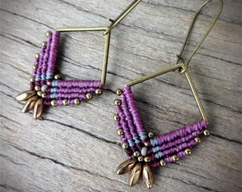 macrame earrings, beaded earrings, czech glass beads, zamak square