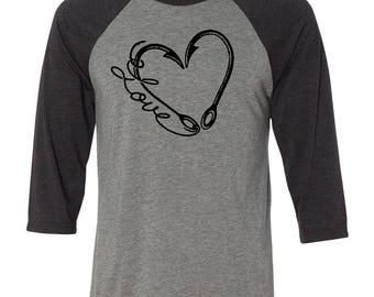LOVE Fishing Baseball Raglan, Valentines Day Shirt, fishing gift, Gift for Him, Youth Valentines Day Shirt, Heart, Valentines