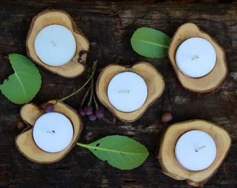Juniper wood candle holders