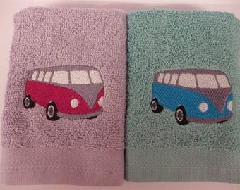 Novelty Camper Van His and Hers Face Cloth Flannel Luxury Set Great Gift Present