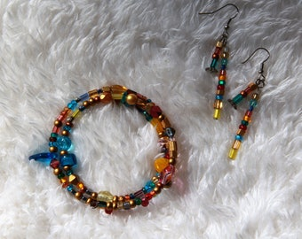 Multi Color Memory Wire Bracelet and Dangle Earring Set Free US Shippng