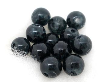 PV61 - Set of 20 glass beads 6mm black Crackle