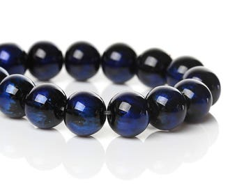 PV50 set of 15 glass beads 10mm black iridescent blue Navy-Blue night