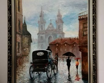 Free Shipping! Prague Oil Painting, Original Art, 80/60CM, 31.5/23.6Inches.Not include outer frame