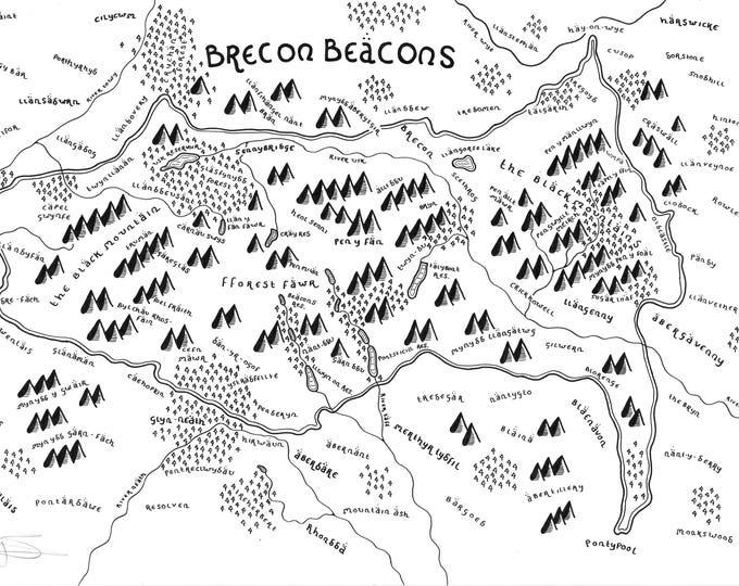 Brecon Beacons National Park - Bespoke Hand Drawn Map