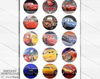 """INSTANT DOWNLOAD Cars 4x6 Digital 1"""" Inch Bottle Cap Image/Digital Collage sheet"""