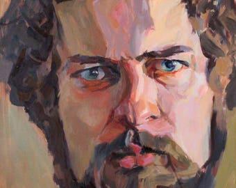 Man Portrait Painting -ORIGINAL- Oil Painting Male Portrait -Raphaelle Pia- Oil on Canvas Large Format