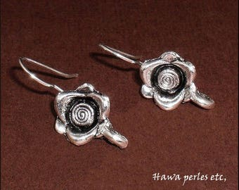 """1 pair hook shaped earrings """"Rose"""" 23.4 mm antique silver metal"""