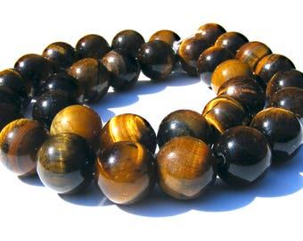 4 oeil de tigres de 12 mm perles pierre marron jaune irisé.
