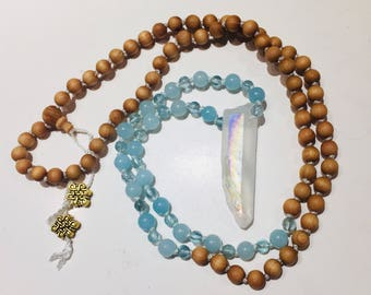 Gratitude Mala Neclace, 108 hand knotted bead mala, 108 beads, meditation necklace, prayer beads