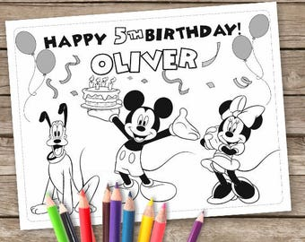 Mickey Mouse Digital Coloring Pages, 6 Mickey Printable Coloring pages Trolls, Children's Activity Sheets, Printable Personalize Kid's