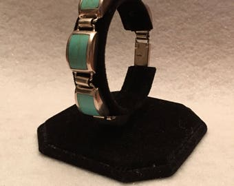 Bracelet-Sterling Silver with Aqua (Turquoise) Stone Links