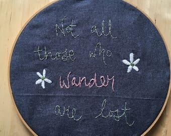 Wander embroidery hoop art