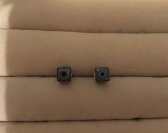 Grey Cube Stud Earrings