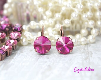 Swarovski Crystal Earrings, Crystal Earrings, Dangle Earrings, Drop Earrings, Pink Earrings, Fuchsia Earrings, Bridal Earrings, Earring.