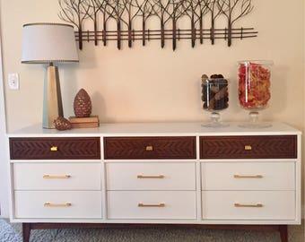 SOLD Refinished, Vintage Mid Century Modern Dresser/Buffet