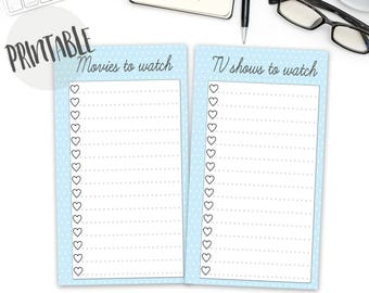 Printable Movies and TV shows to watch PDF, planner insert, filofax personal, kikki k medium, printable, Instant Download, bullet journal