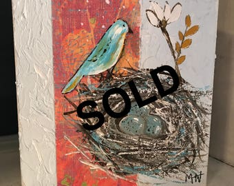 SOLD Blue Eggs Bird Nest 5x5 Acrylic Canvas Painting