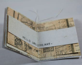 Mini Map Journal | Junk Journal | Ephemera | Journaling | Glue Book | Collage | Mixed Media Draft | Map | Vintage