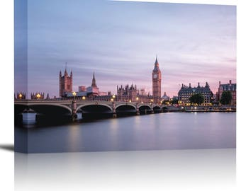 Big Ben Westminster Bridge London Art Print Wall Decor Image - Canvas Stretched Framed