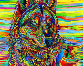 Psychedelic Rainbow Colorful Wolf Animal Giclée Fine Art Print