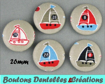 Covered buttons - sea - boats - boats - 26mm (26-09)