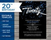 20th Birthday Invite, Cus...