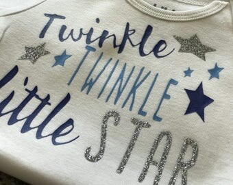 Twinkle twinkle little star unisex onesie. Choose your own colors to customize the onesie. Great gift for baby shower or a little one
